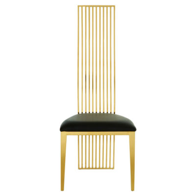 Gold Metal Frame and Black Faux Leather Dining Chair, Latzio