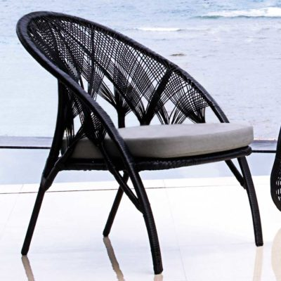 black easy armchair, Hagia by Kenneth Cobonpue