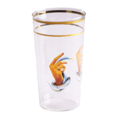 Hands with snakes Glass with gold edge, Seletti