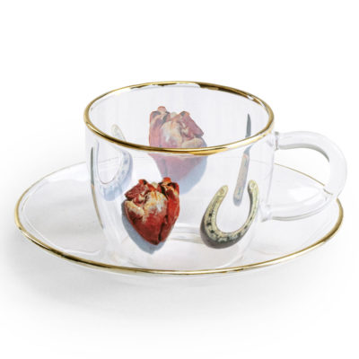 Glass Coffee cup with gold edge, Seletti