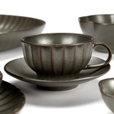 green stoneware Cappuccino Cup 20cl, Inku by Serax