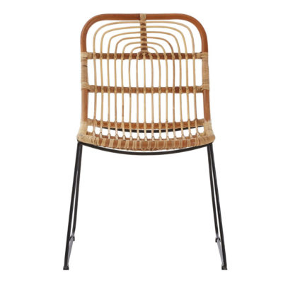 Wicker Chair with black metal legs, Latzio