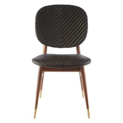 walnut wood feet and black leather Dining Chair, Latzio