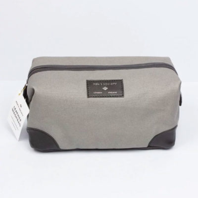 Grey Leather Washbag, Atlantic Folk