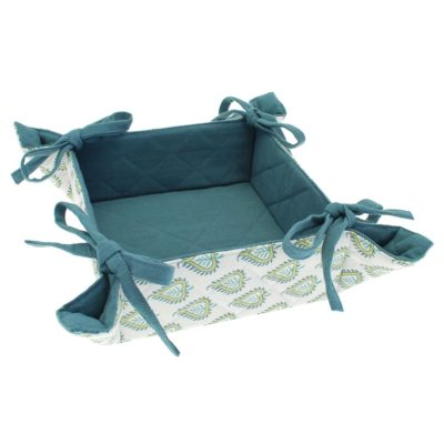 white and blue bread basket with green leaves by Walton & Co