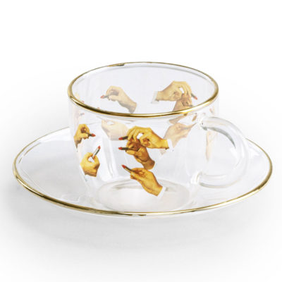 Glass Coffee cup with gold edge, Lipsticks, Seletti