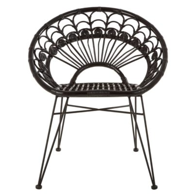 Black Rattan Chair, Latzio