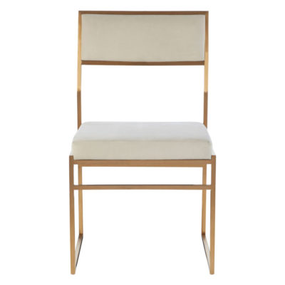 Gold Frame and White Fabric Dining Chair, Latzio