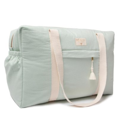 green waterproof maternity bag in organic cotton by Nobodinoz