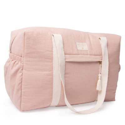 pink waterproof maternity bag in organic cotton by Nobodinoz