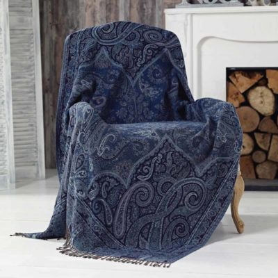 blue jacquard throw by Walton & Co