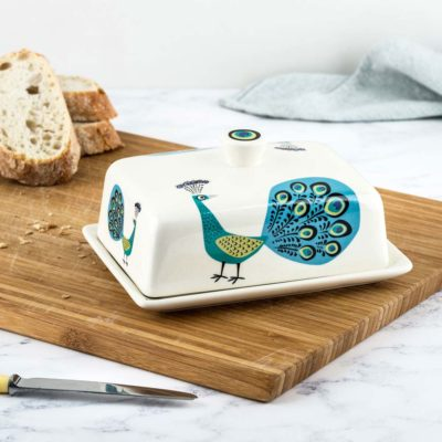 Peacock Butter Dish by Hannah Turner