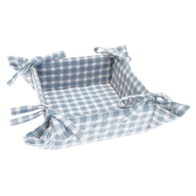 blue check bread basket by Walton & Co
