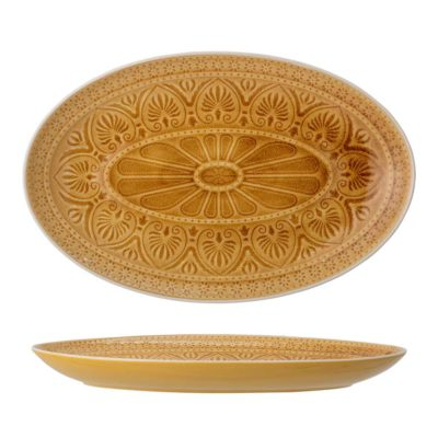 Yellow Stoneware Serving Plate, Bloomingville