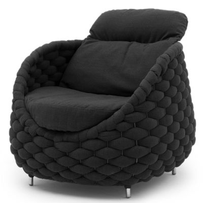 black design armchair, Rapunzel by Kenneth Cobonpue