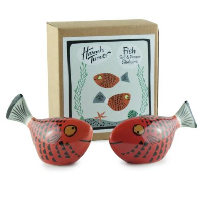 ceramic Red Fish Salt and Pepper Shakers by Hannah Turner