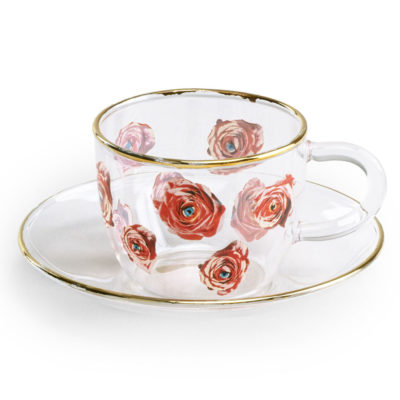 Roses Glass Coffee cup with gold edge, Seletti