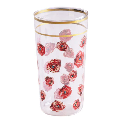 Roses Glass with gold edge, Seletti