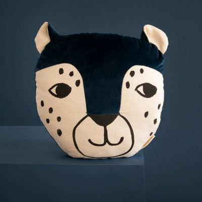 blue velvet leopard cushion by Nobodinoz