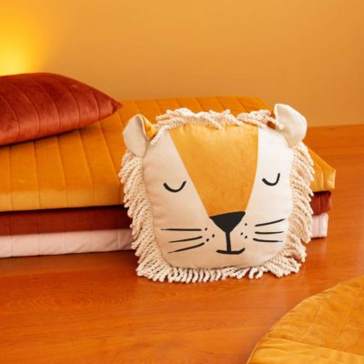 yellow lion velvet cushion by Nobodinoz