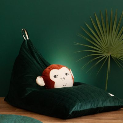 brown monkey velvet cushion by Nobodinoz