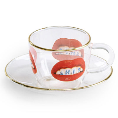 red mouth glass Coffee cup with gold edge, Seletti
