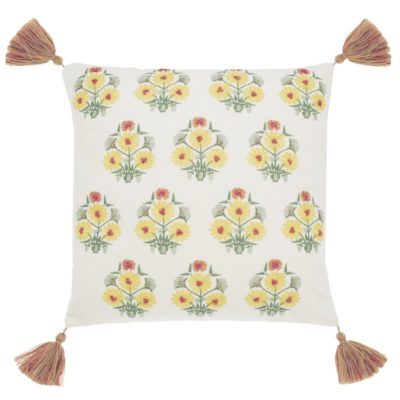 white floral square cushion by Walton & Co