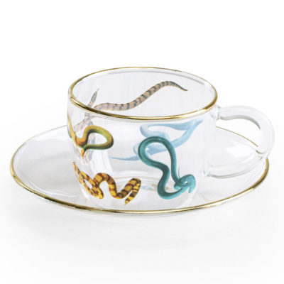 Snakes glass Coffee cup with gold edge, Seletti