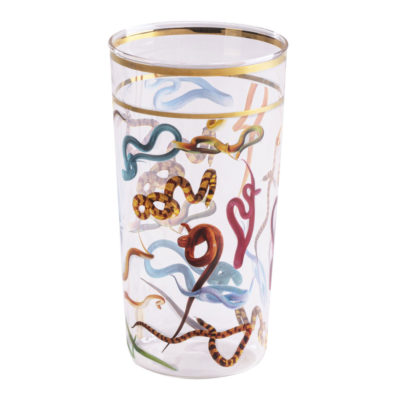 Snakes Glass with gold edge, Seletti