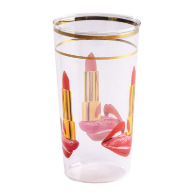 Tongue Glass with gold edge, Seletti