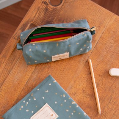 green pencil case in cotton by Nobodinoz