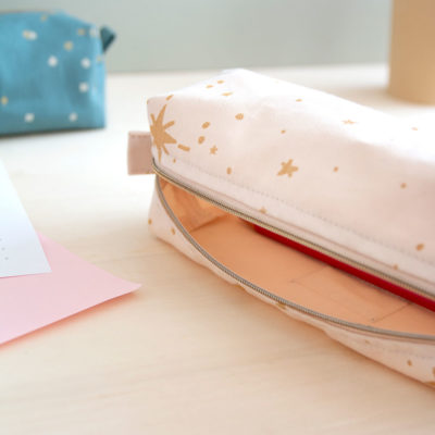pink pencil case in cotton by Nobodinoz