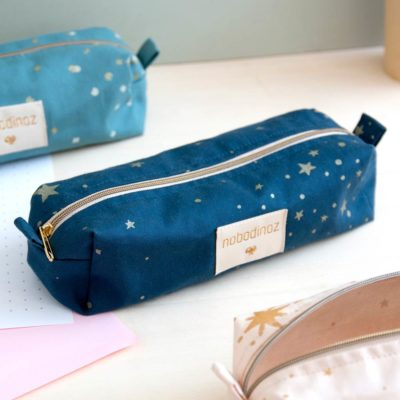 blue pencil case in cotton by Nobodinoz