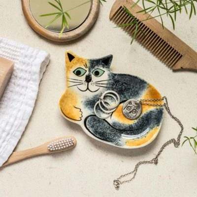 Tortoiseshell Cat Trinket Tray by Hannah Turner