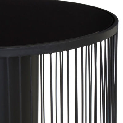 Black Metal Side Table With Glass Top, Latzio
