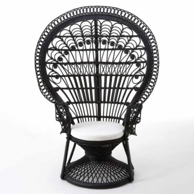 Black Peacock Wicker Chair, Latzio