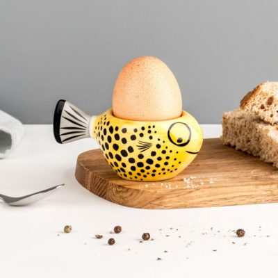 Yellow Fish ceramic Eggcup by Hannah Turner