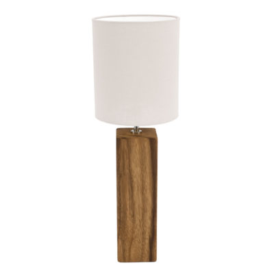 wooden cube base table lamp with white shade by Pr Home