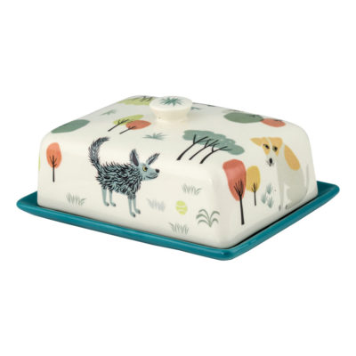 Ceramic dog butter dish by Hannah Turner