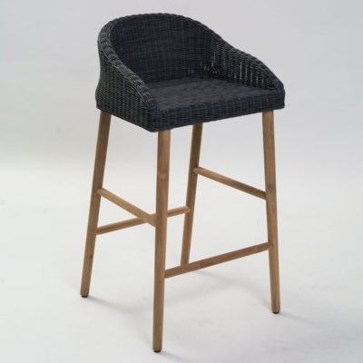 black rattan with wooden leg outdoor bar stool by Pr Home