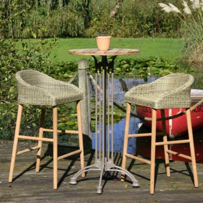 grey rattan with wooden leg outdoor bar stool by Pr Home
