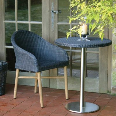 black rattan outdoor dining chair by Pr Home