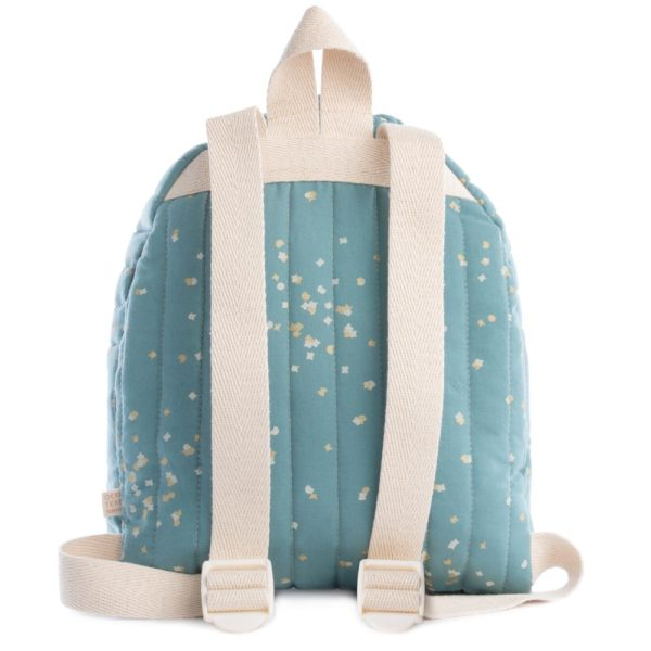 green and gold organic cotton kid backpack by Nobodinoz