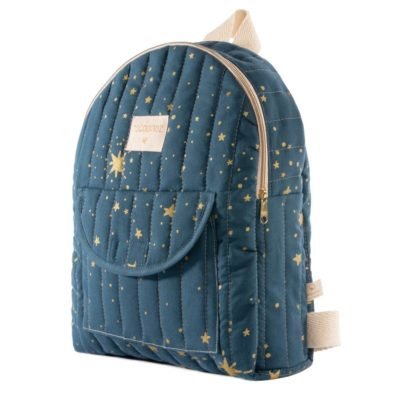 Blue and gold organic cotton kid backpack by Nobodinoz