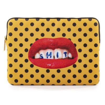 yellow laptop bag with red mouth, Seletti