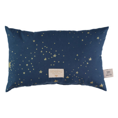 blue cushion with gold stars in organic cotton by Nobodinoz