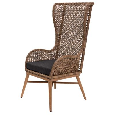 rattan back armchair with wooden legs by Pr Home