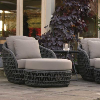 wooven grey rope chair and footstool by pr Home