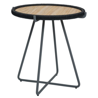 grey steel base with removable woven tray outdoor table by Pr Home