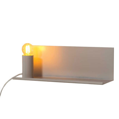 white metal wall shelf with movable magnetic lamp holder by Pr Home